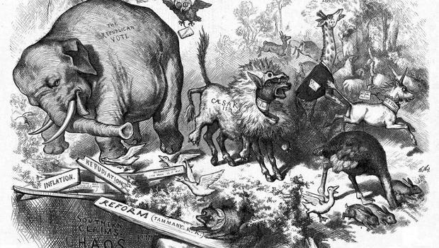 Resultado de imagen de Harper's Weekly in 1874, Nast drew a donkey clothed in lion's skin
