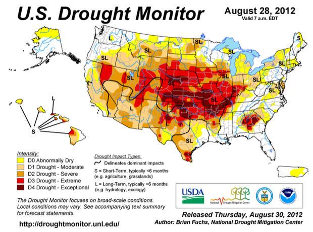 国家干旱减灾中心的干旱监测地图,于2012年8月28日发布。