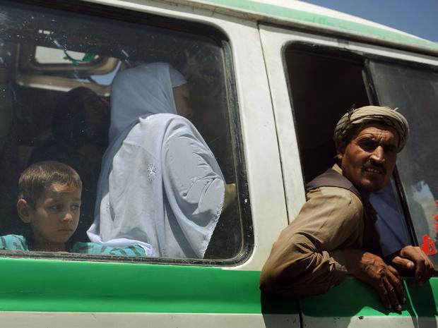 Afghans on a local bus in Kabul