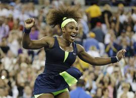 Serena Williams reacts after beating Victoria Azarenka