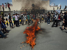 Yemeni protesters outside the U.S. Embassy in Sanaa