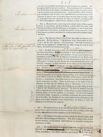 Washington's copy of U.S. Constitution
