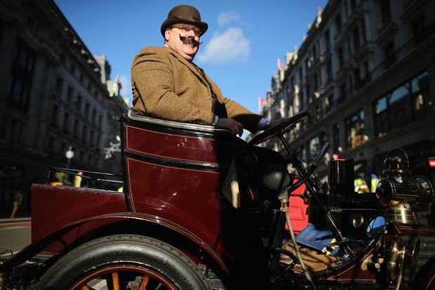 Classic car rally in London