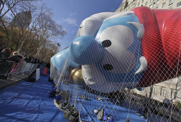 Macy's prepares floats for Thanksgiving Day parade