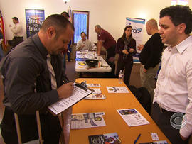 Veteran Bruce Bradford talked with every employer at the Hiring Our Heroes job fair in Toms River, N.J.