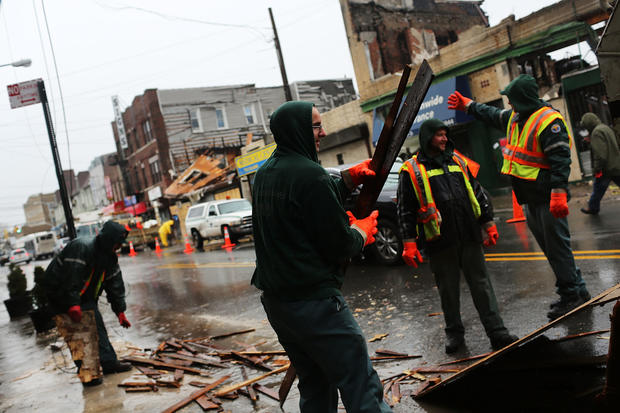 Snow adds misery for areas hit hard by superstorm
