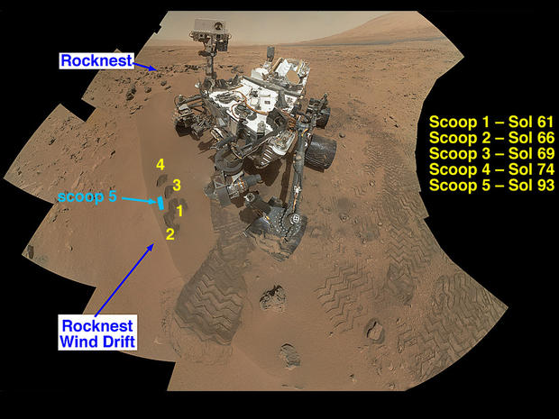"NASA's Curiosity Mars rover documented itself in the context of its work site, an area called ""Rocknest Wind Drift,"" on the 84th Martian day, or sol, of its mission (Oct. 31, 2012). The rover worked at this location from Sol 56 (Oct. 2, 2012) to Sol 100 (Nov. 16, 2012)."