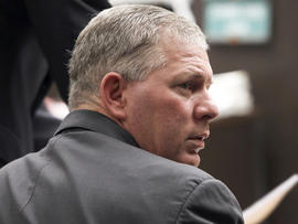 Former New York Mets and Philadelphia Phillies star outfielder Lenny Dykstra is seen during his sentencing for grand theft auto in Los Angeles in this March 5, 2012 file photo. Dykstra has been sentenced in Los Angeles Monday, Dec. 3, 2012, to six and a half months in prison for hiding and selling sports memorabilia and other items that were supposed to be part of his bankruptcy filing