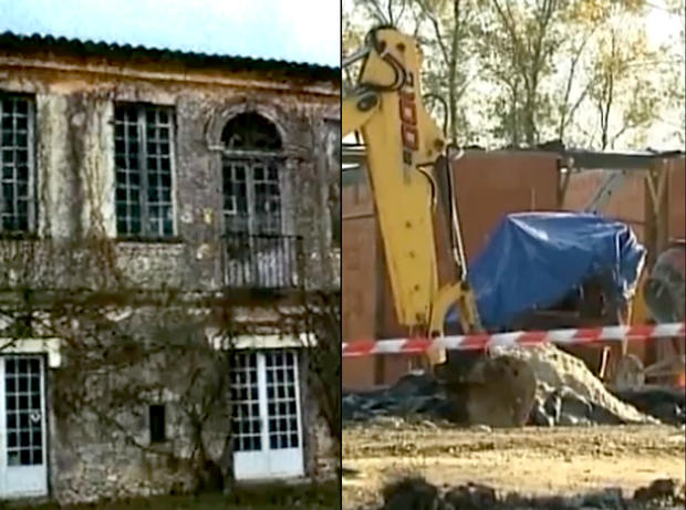The owner of an 18th-century French chateau, left, had hired a company to restore the building. He returned to see the scene on the right.