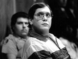 Manuel Pardo listens as his sentence is read in 1988 after being found guilty of nine counts of murder.