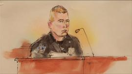 A police officer testifies about the Aurora movie theater shooting during a court hearing in Centennial, Colo., on Monday, January 7, 2013.