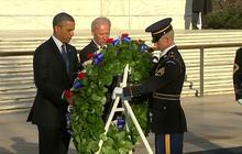Obama, Biden lay wreath at Arlington Cemetery
