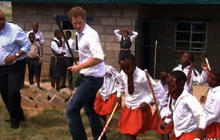 Prince Harry dances with children in Lesotho