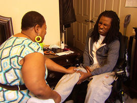 Ondelee Perteet was 14 when he was shot in the face by a 15-year-old during a fight in 2009. His mother, Deetreena Perteet, has been his full-time caregiver.
