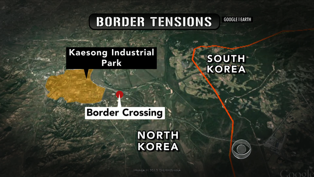 Map of the North Korea/South Korea border, including Kaesong.
