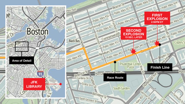 Boston Marathon map updated with JFK Library location