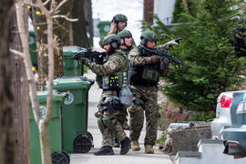 SWAT teams searched homes along Winsor Avenue in Watertown while searching for one of the two suspects in the terrorist bombing of the 117th Boston Marathon earlier this week