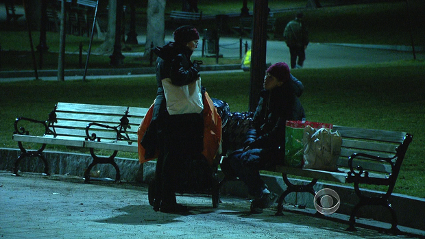 Dr. Roseanne Means approaches a homeless woman in Boston.