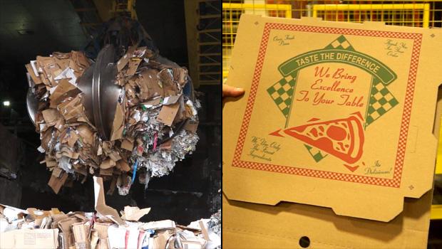 在左边,一台起重机在史坦顿岛的普拉特工业造纸厂收集了大量纸屑。 12个小时后,纸张被加工,卷起并变成披萨盒,然后卖给经销商。