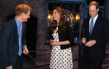 William, Kate and Harry tour Harry Potter studio