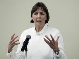 "April 26, 2013 file photo, Judy Clarke, a defense lawyer whose high-profile clients include ""Unabomber"" Ted Kaczynski, Olympic bomber Eric Rudolph, and Tucson shooter Jared Lee Loughner, speaks at Loyola Law School in Los Angeles. Clarke was appointed Monday, April 29, 2013 to the team representing Dzhokhar Tsarnaev, the suspect in the Boston Marathon bombings"