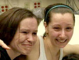 Amanda Berry, right, with her sister in a Cleveland hospital Monday, May 6, 2013.