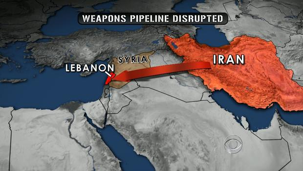 A map of Iran, Syria and Lebanon
