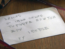The coded message Howard Attebery sent to Cynthia Riggs.