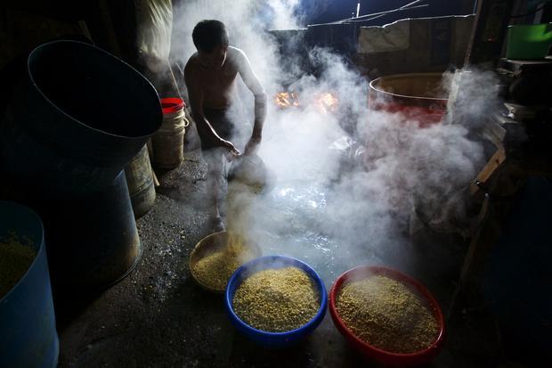 Inside an Indonesian tempeh factory