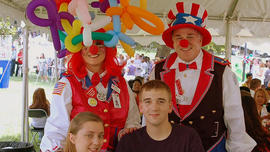 A couple of clowns bringing joy to children