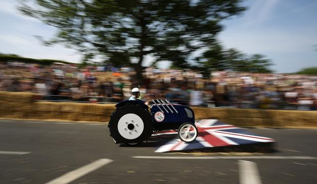Sausage, bus and frog-shaped cars race in London
