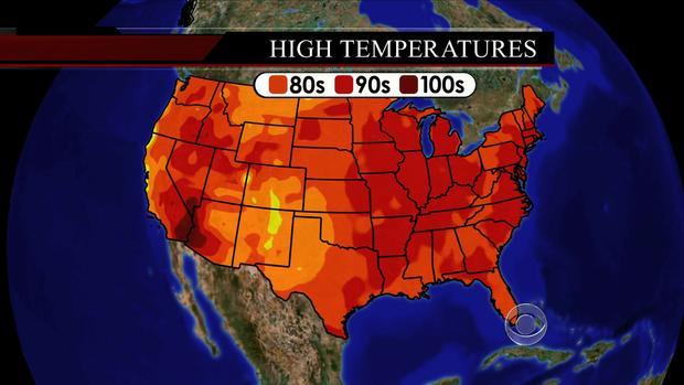 2013年7月16日在美国各地的气温。