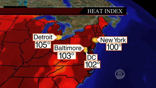 美国地图显示2013年7月17日星期三主要城市的气温。