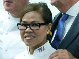 President Obama's executive chef, Cristeta Comerford, meets with members of the Club des Chefs des Chefs - chefs to the world's presidents and potentates - at United Nations headquarters in New York July 29, 2013.