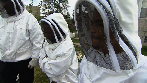 Former inmates work producing honey for Sweet Beginnings, a company started by Brenda Palms Barber.
