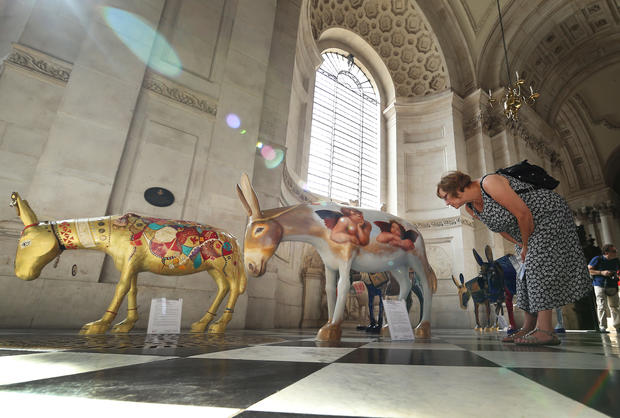 Painted donkeys arrive in London
