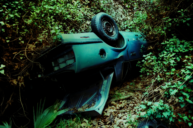 Mulholland Drive car wrecks decay artfully