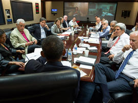 President Obama meets in the White House Situation Room with his national security advisers to discuss strategy in Syria Aug. 31, 2013.