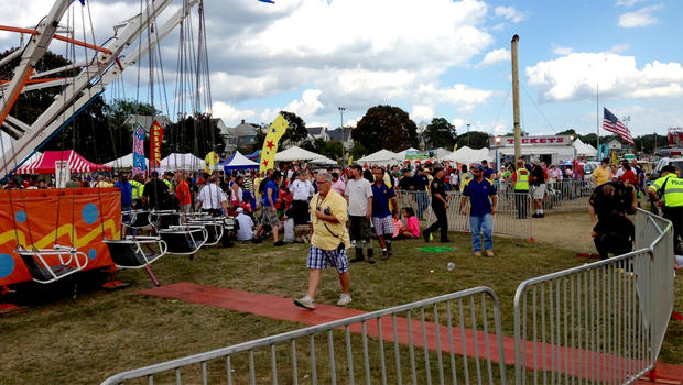 The scene at the Oyster Fest in Norwalk, Conn., where a swing lost power on Sept.8, 2013. Thirteen children were injured.