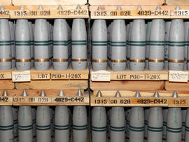 One-hundred-five millimeter shells containing mustard agent are stored in a bunker at the Army's Pueblo Chemical Depot in Pueblo, Colo., Jan. 21, 2010.