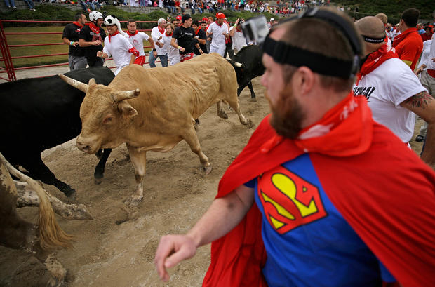 Thrill-seekers run with the bulls – in Georgia
