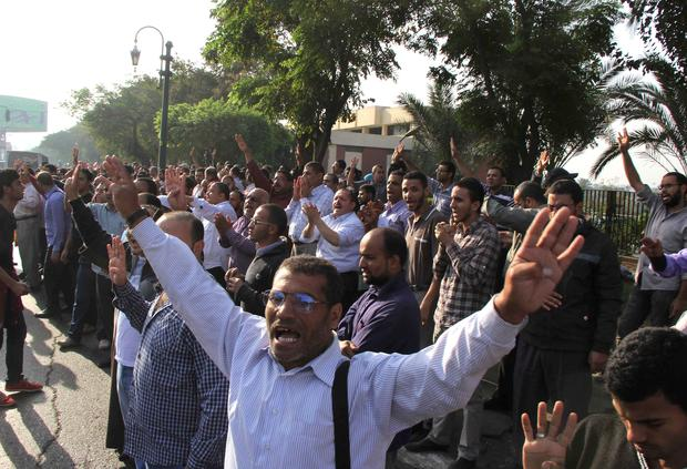 Supporters of the ousted Egyptian president Mohammed Morsi gather outside the High Court