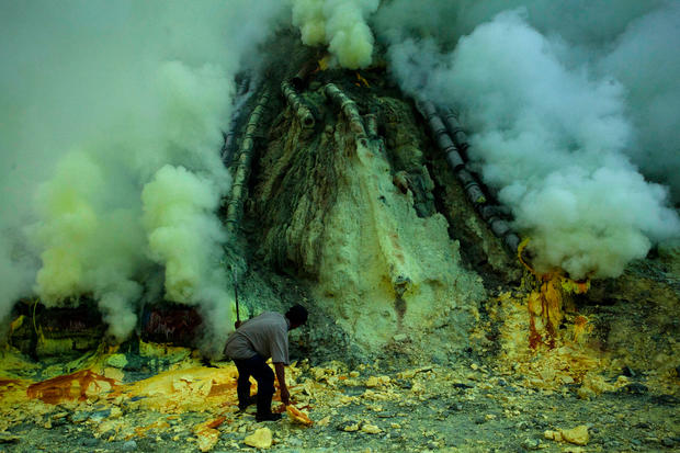 Volcanic sacrifice at sulfur mine