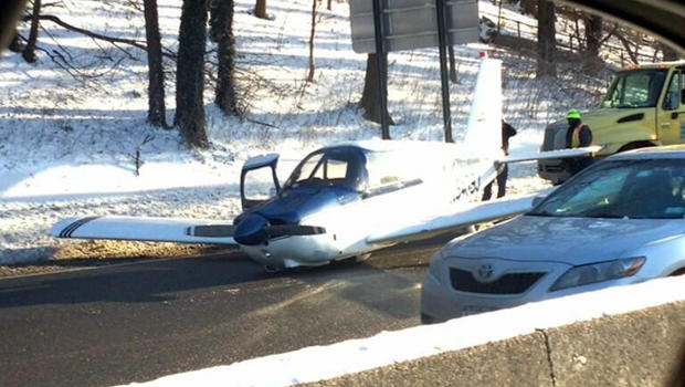 A small plane made an emergency landing on the Major Deegan Expressway in the Bronx borough of New York Jan. 4, 2014.