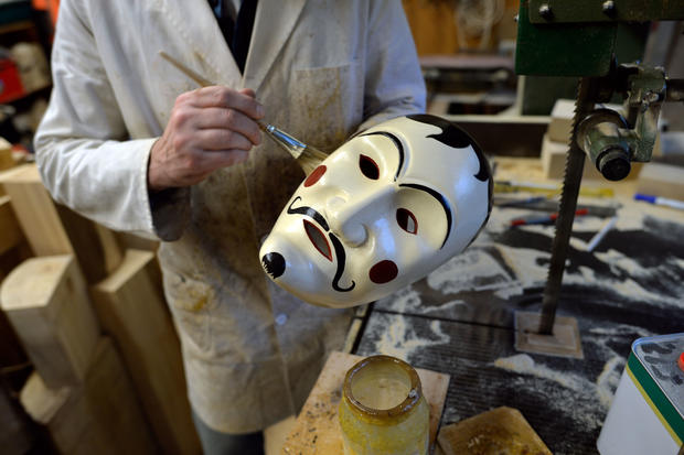 Inside a carnival mask workshop