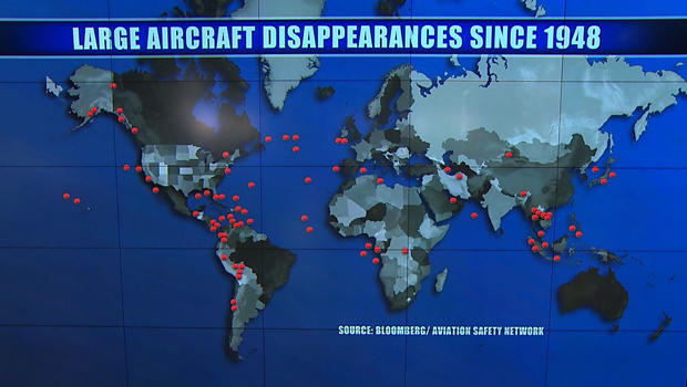 A map shows 83 large-aircraft flights that have disappeared since 1948, according to research by Bloomberg news.