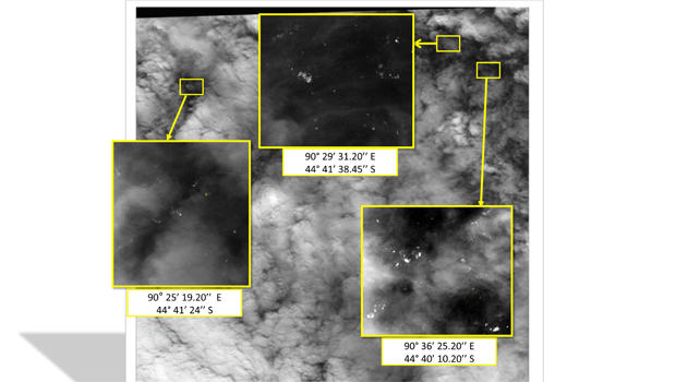A satellite image shows debris in the southern Indian Ocean March 23, 2014, during the search for Malaysia Airlines Flight 370. They were revealed to public on March 26, 2014.