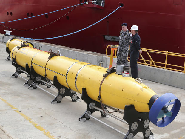 A towed pinger locator sits on the wharf ready to be fitted to the Australian ship Ocean Shield to aid in her roll in the search for missing Malaysia Airlines Flight 370 in Perth