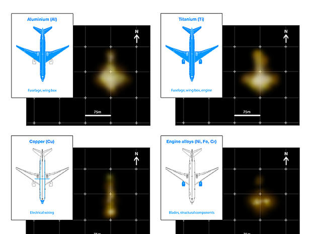 "A graphic from GeoResonance shows images depicting underwater ""anomalies"" suggesting deposits of various metals in the approximate formation of a passenger airliner"
