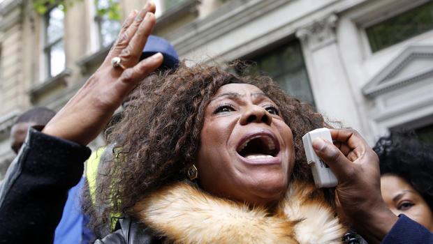 A protester demonstrates against the kidnapping of school girls in Nigeria outside the Nigerian Embassy in London May 9, 2014.